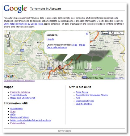 Google crea una pagina per il Terremoto in Abruzzo
