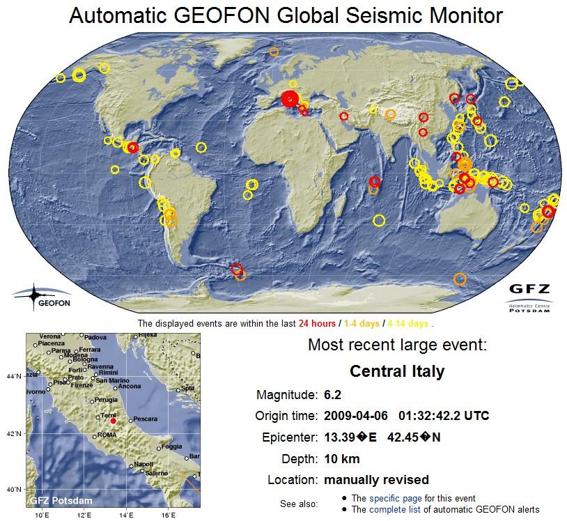Seismic Monitor terremoto Aquilano